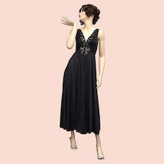 9e6aa415965 c1970s Olga Bodysilk Black Nylon   Lace Wide Sweep Hem Maxi Nightgown