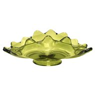 Viking Glass Epic Avocado Green Glass Bon Bon Candy Gathering Dish