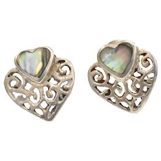 Sterling Silver Abalone Heart Petite Stud Pierced Earrings
