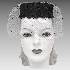 f528ab4ae77 Coifettes by Miss Eileen Black Lace   Pom-Pom Veil Pillbox Hat