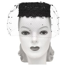 Coifettes by Miss Eileen Black Lace & Pom-Pom Veil Pillbox Hat