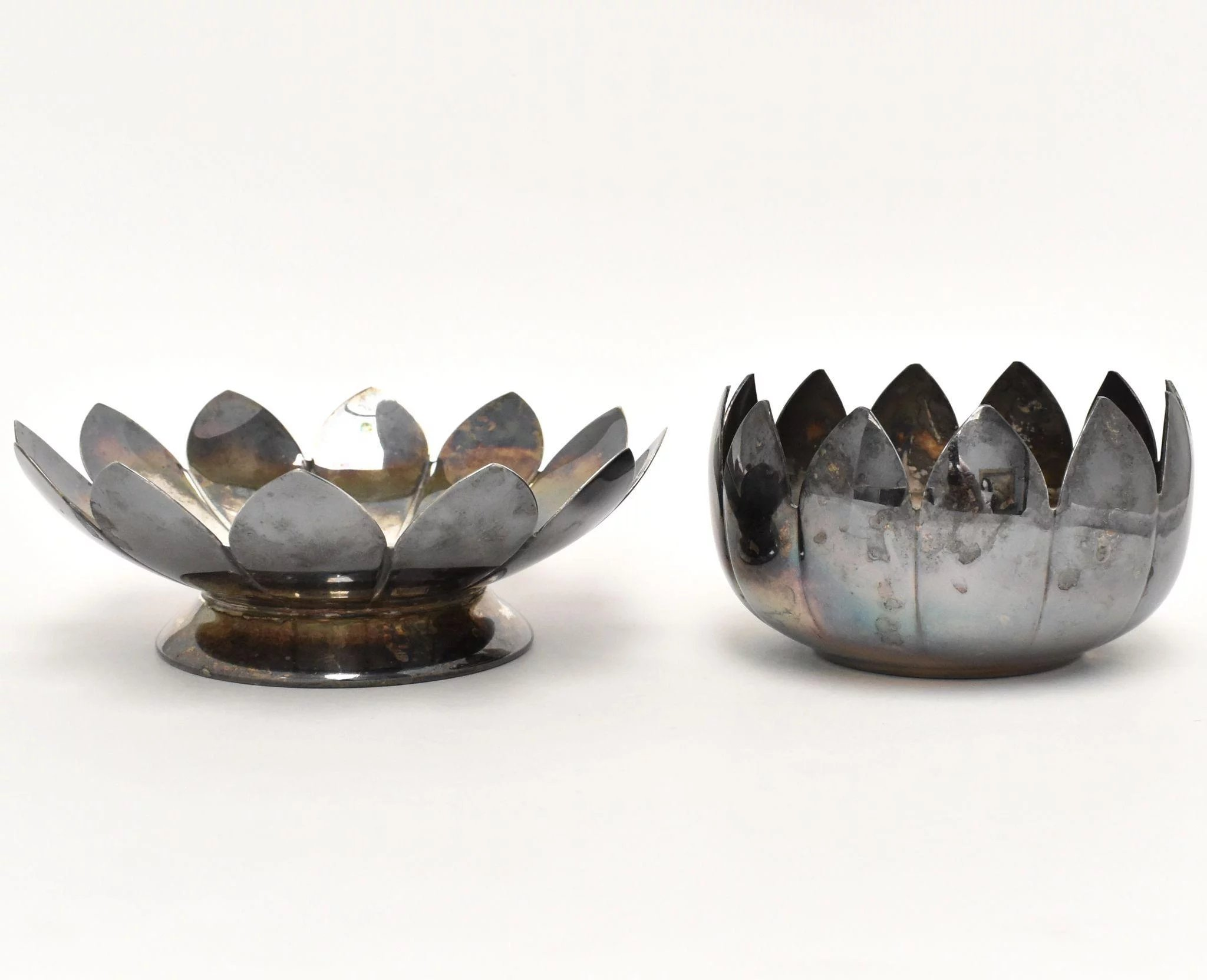 2 Pc Leonard Silver Plate Lotus Flower Candle Holder Trinket Tray