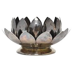 2-Pc Leonard Silver Plate Lotus Flower Candle Holder / Trinket Tray