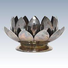2-Pc Leonard Silver Plate Lotus Flower Candle Holder / Trinket Tray