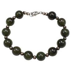 Sterling Silver & Spinach Green Nephrite Jade Bead Bracelet