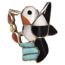 Alpaca Silver Native American Style Mother of Pearl, Black Onyx & Blue Turquoise Bird Ring - Size 6.5
