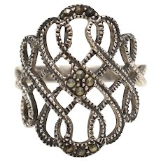 Sterling Silver Signed Scrollwork & Marcasite Ring - Size 8