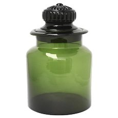 "10.5"" Tall Forest Green Glass Apothecary Candy Jar Canister w/ Original Lid"