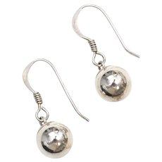 Sterling Silver Ball Drop Fishhook Earrings
