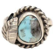 Sterling Silver & Blue Turquoise Native American Navajo Peyote Flower Pinky Ring - Size 4