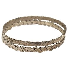 Set of 2 Mexico Sterling Silver Braided Bangle Bracelets