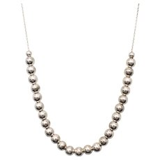 Sterling Silver Graduated Round Bead Necklace