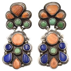 Signed Oscar Betz Patasi Navajo Large Sterling Silver Spiny Oyster, Variscite & Lapis Earrings