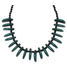 Ethnic Inspired Teal Green Faux Claw & Black Bead Geometric Statement Necklace ~ In the Style of Flying Colors Jewelry