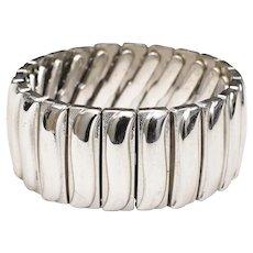 Monet Signed Silvertone Wave Stretch Bracelet