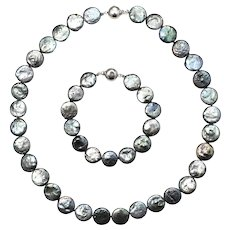2-pc Set Sterling Silver & Blue Dyed Freshwater Pearl Dual-wear Necklace & Bracelet