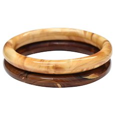 Pair of Caramel Brown Swirled Marble Glass Bangle Bracelets