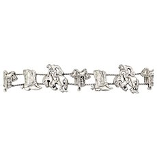 New Old Stock Western Themed Country Cowboy or Cowgirl Silvertone Slider Charm Bracelet