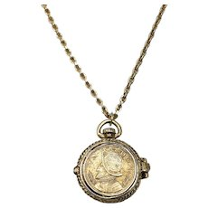 "Signed Ultra Craft Panama Balboa Coin Pocket Watch Style Locket Pendant 37"" Long Necklace"