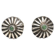 Fred Harvey Era Sterling Silver Serrated Bezel Set Turquoise Fluted Dome Pierced Earrings
