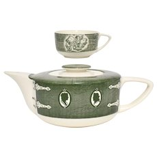 2-Pc Royal China The Old Curiosity Shop Green Teapot w/ Lid & Cup Set