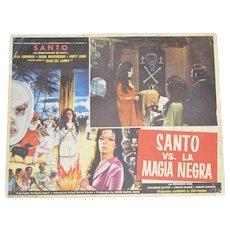 c1973 Mexican Lucha Libre Wrestling 'Santo vs La Magia Negra' Original Horror Movie Lobby Card Poster
