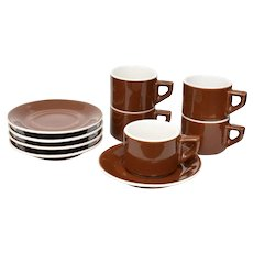 10-Pc ACF Italy High-Gloss Brown & White Cafe Style Porcelain Cappuccino Cups w/ Saucers