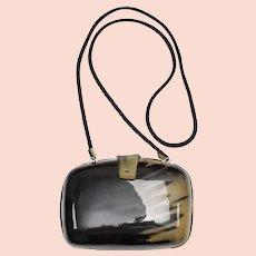 c1970s Simulated Tortoise Shell Lucite Minaudière Purse Clutch w/ Optional Fabric Straps for Shoulder Bag