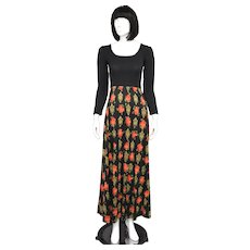 Lanz Black Long-Sleeve Red Rose Scoop Neck Maxi Dress - Size 9