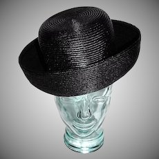 1960s Christine Original ~ Jet Black Straw Hat w/ Wide Brim