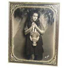 1920s Freulich ~ Gladys Walton w/ Doll ~ Framed 8x10 Photo