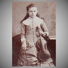 1890s Victorian Girl w/ Violin ~ Cabinet Card Photograph