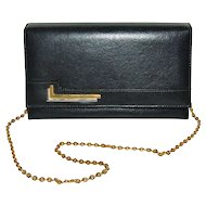 1970s Faux Black Leather Purse w/ Goldtone Chain Strap