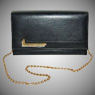 1970s Faux Black Leather Purse w/ Goldtone Chain Strap
