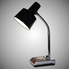 1970s Industrial Chrome & Faux Wood Gooseneck Lamp
