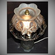1980s Gothic Crystal Rose Hurricane Style Boudoir Lamp