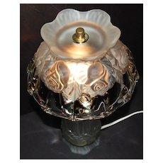 1980s Gothic Crystal Rose Hurricane Style Boudoir Lamp