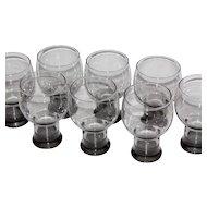 1970/80s Smoky Black Mod Pedestal Glasses ~ Set of 8