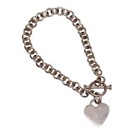 Sterling Silver Heart Charm Toggle Clasp Link Bracelet
