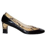 1960s Turian ~ Black Patent Leather & Snakeskin Heels