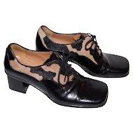 Franco Sarto ~ Calfskin & Black Leather Shoes