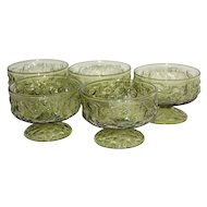 Set of 5 Anchor Hocking Milano Green Crinkle Glass Champagne / Tall Sherbet Dishes