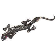 1980s Boma ~ Sterling 925 Marcasite Red-Eyed Lizard Brooch