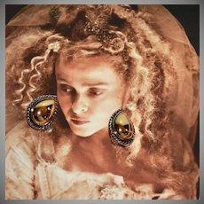 1980s Premier Designs ~ Gold/Silvertone Teardrop Clip Earrings