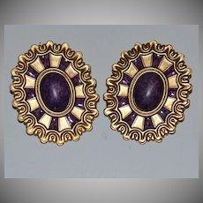 1980s Huge Wicked Purple Cabochon Pierced Earrings