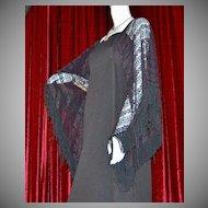 1970s Miss K Black Crochet Batwing Maxi Dress