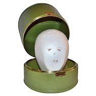 1960/70s Hard Plastic Wig Case, Head, Elura Blonde Wig & Pins