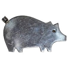 Anne Harvey ~ Sterling Silver Pig Figural Brooch/Pin