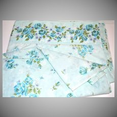 1960s Cannon Monticello ~ Blue Rose Full Flat Sheet