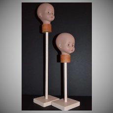1970s Set of 2 Glorex Doll Head Wig Stands